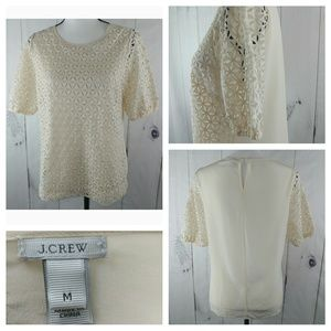 J.CREW Collection Women Short Sleeve Eyelet Top